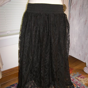 Magic Black Lined Lace Maxi Skirt NWT $59 XL